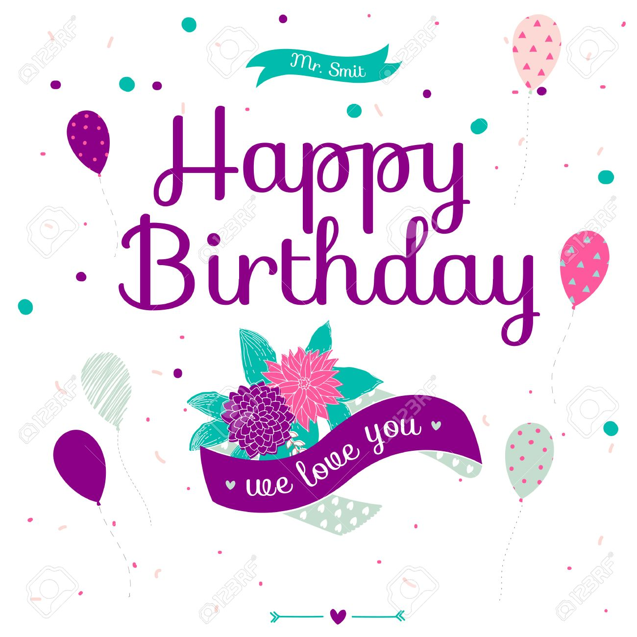 Cute romantic and lovely happy birthday card with flowers balloons cute romantic and lovely happy birthday card with flowers balloons and ribbons template stopboris Images