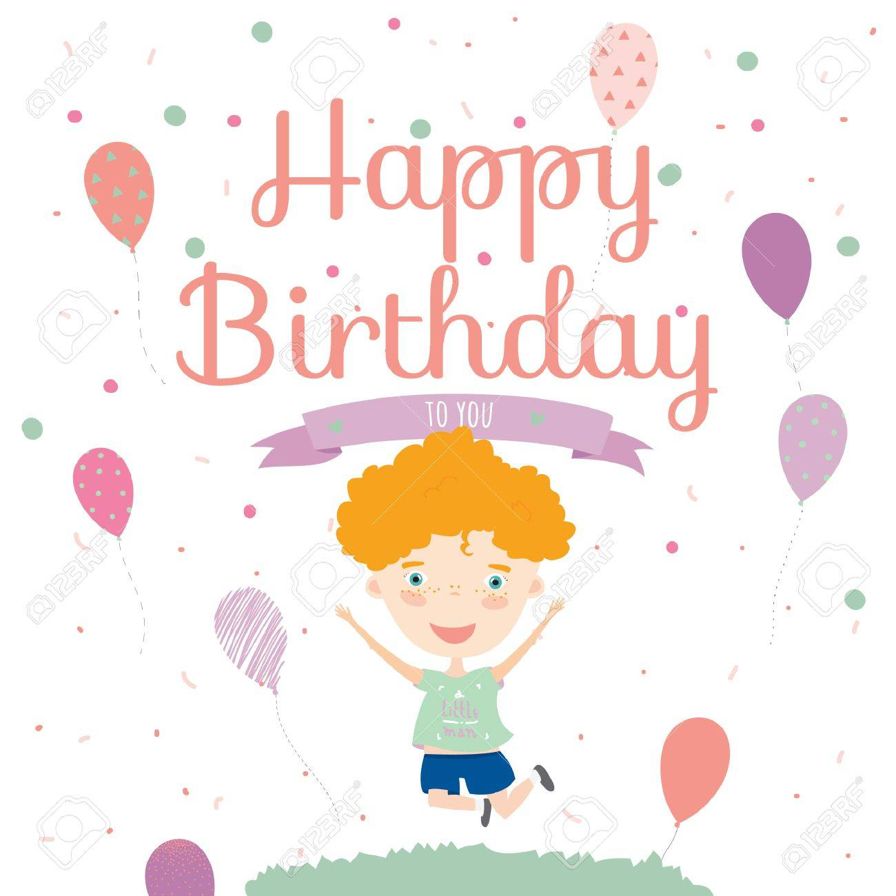 Birthday card with cute jumping boy and birthday party invitation birthday card with cute jumping boy and birthday party invitation card template in cartoon and cute stopboris Gallery
