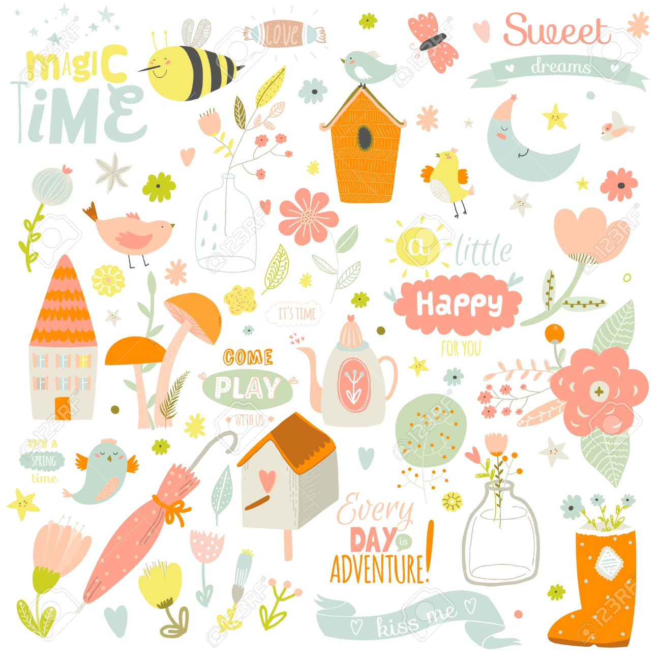Romantic And Lovely Print Illustration With Cute Spring And Summer ...