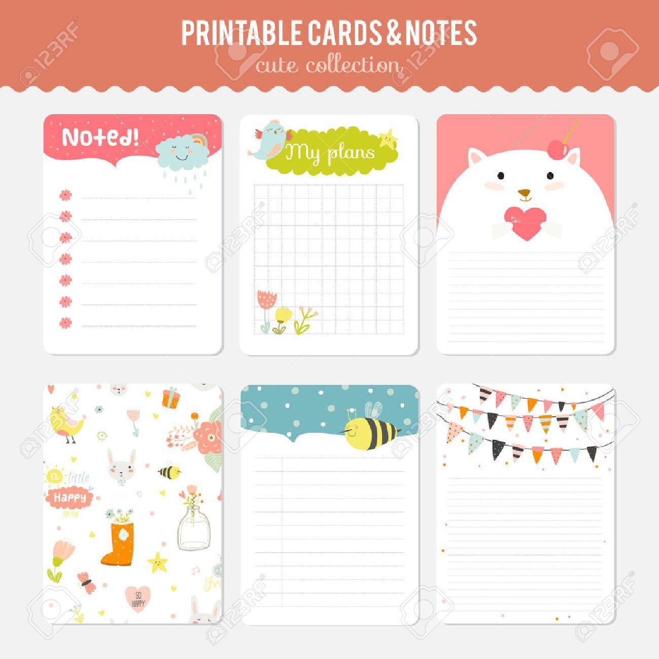 かわいいカード、ノート、春と夏...