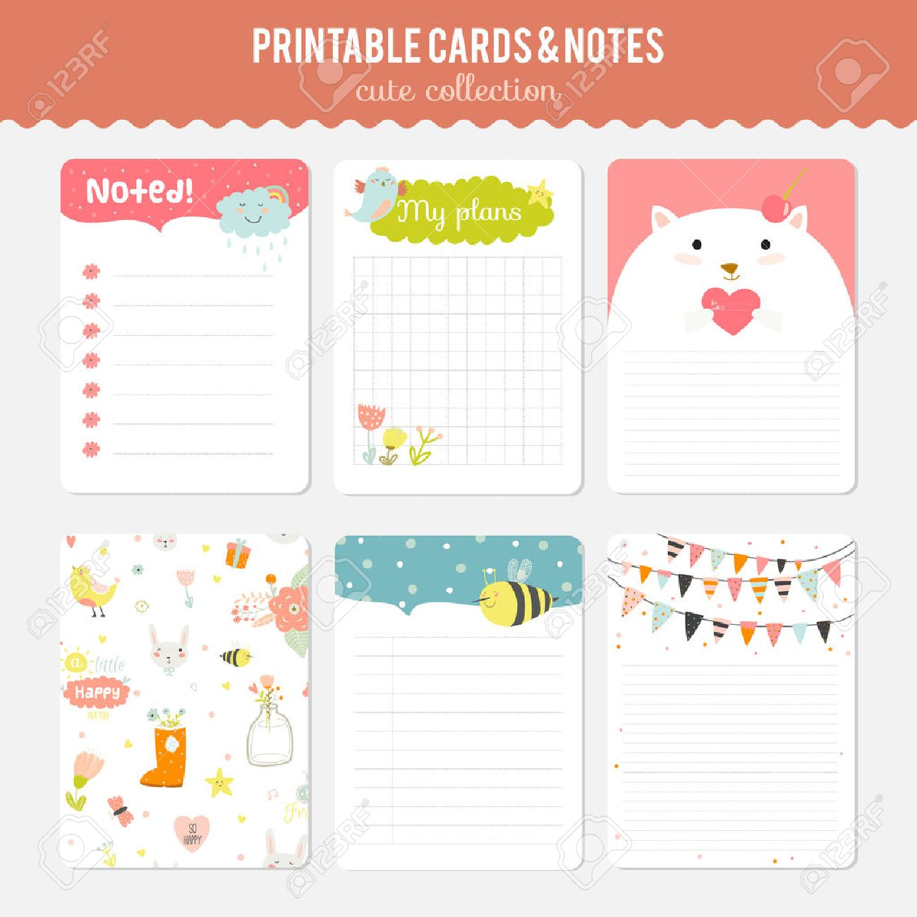 cute cards notes and stickers with spring and summer illustrations