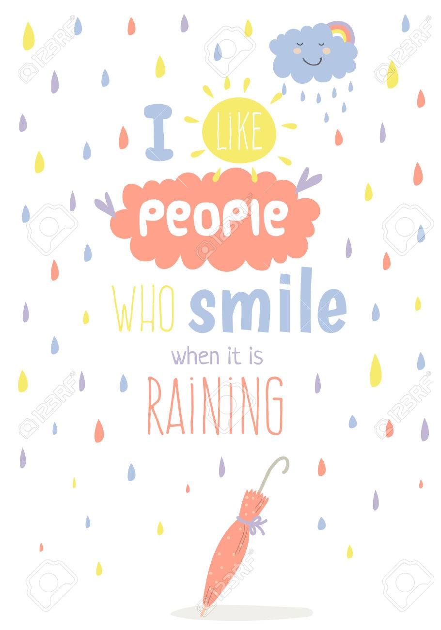 Greeting card with cute and funny vector illustration. Inspirational..