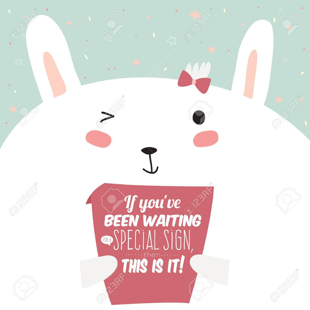Greeting Card With Cute And Funny Bunny Illustration Inspirational Motivational