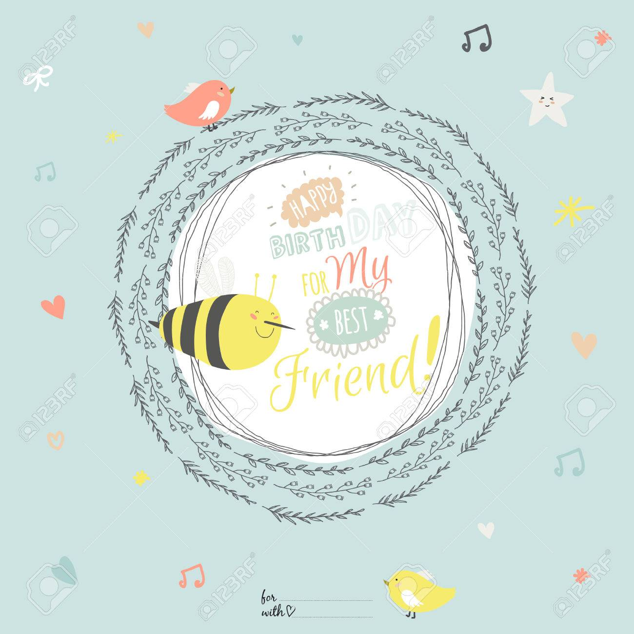 romantic and love happy birthday card with greeting wish to best friend and cute bee in
