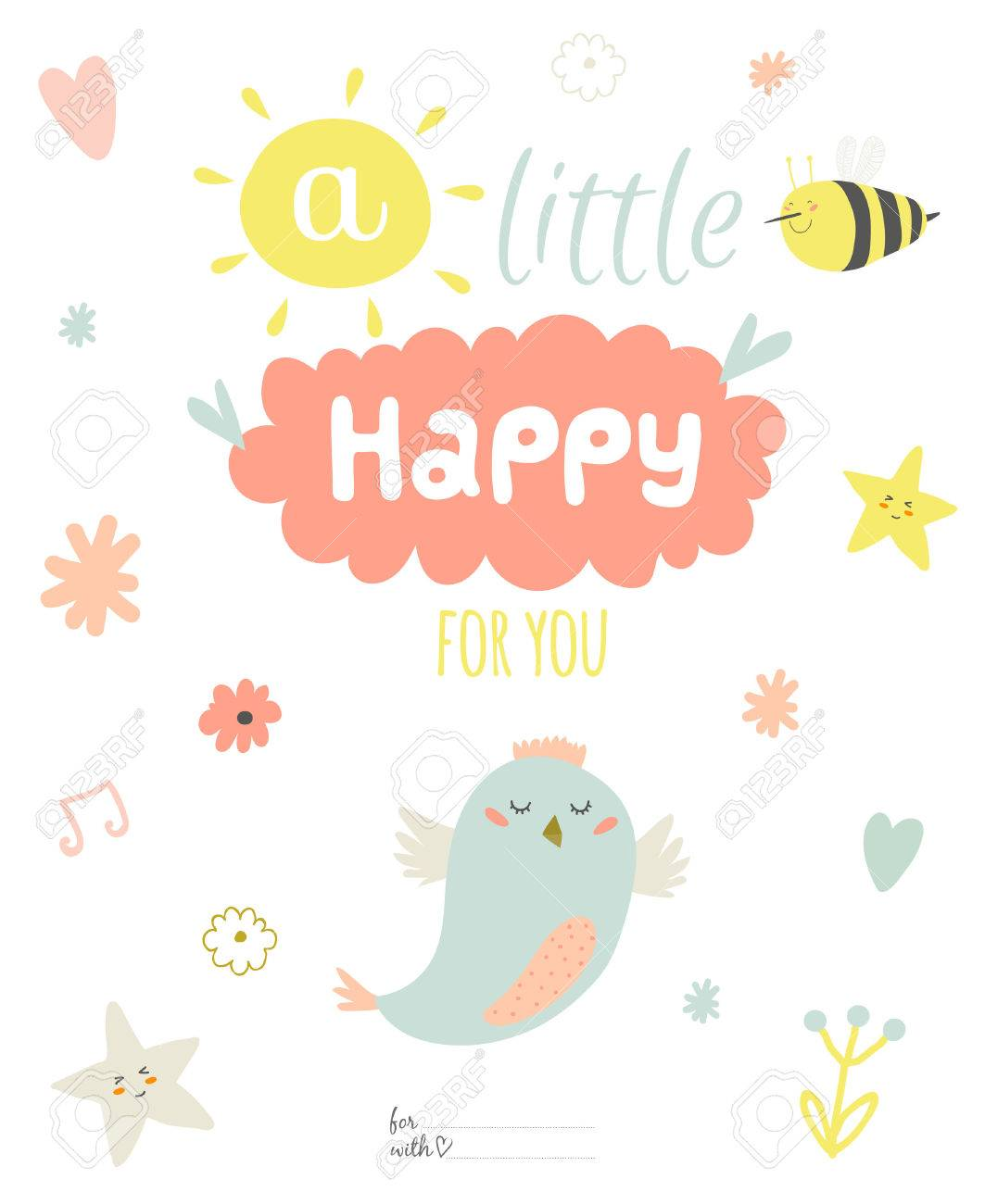 Cute Summer Card With Character Vector Illustration And Typographic.  Inspirational And Motivational Quotes Poster.