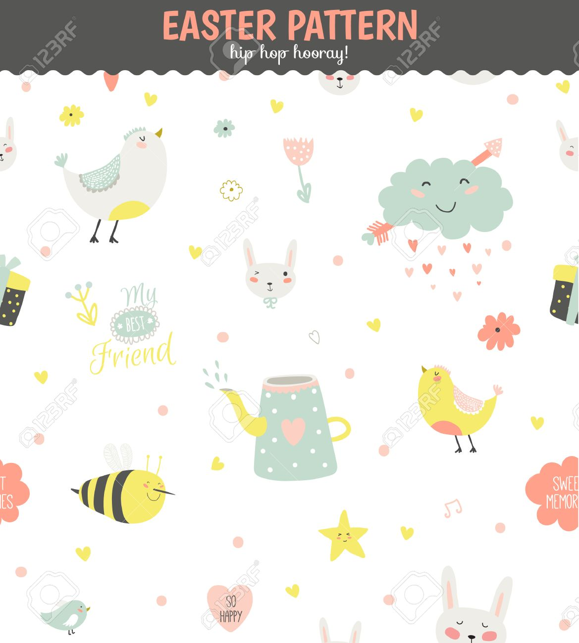 cute funny seamless pattern with animals, bunny, hearts, stars