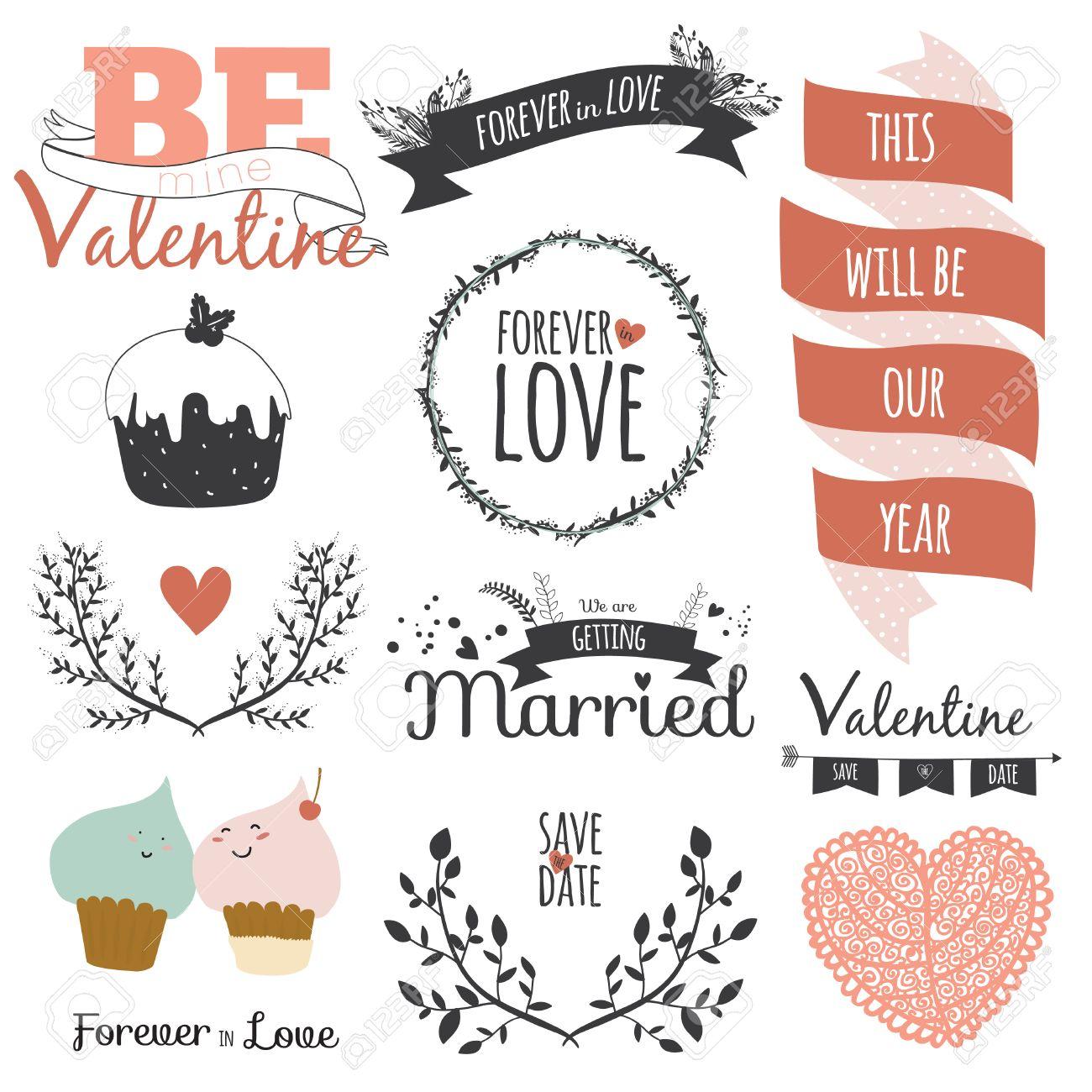 Romantisch Und Liebe Set Von Hand Gezeichnet Gruss Kranze Lorbeeren