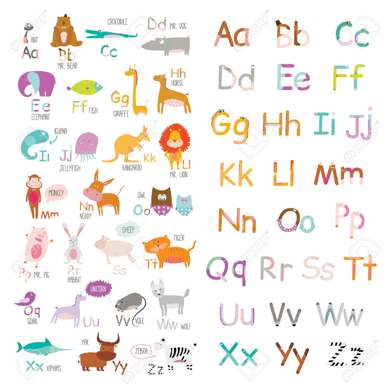 cute vector zoo alphabet with cartoon and funny animals in vector