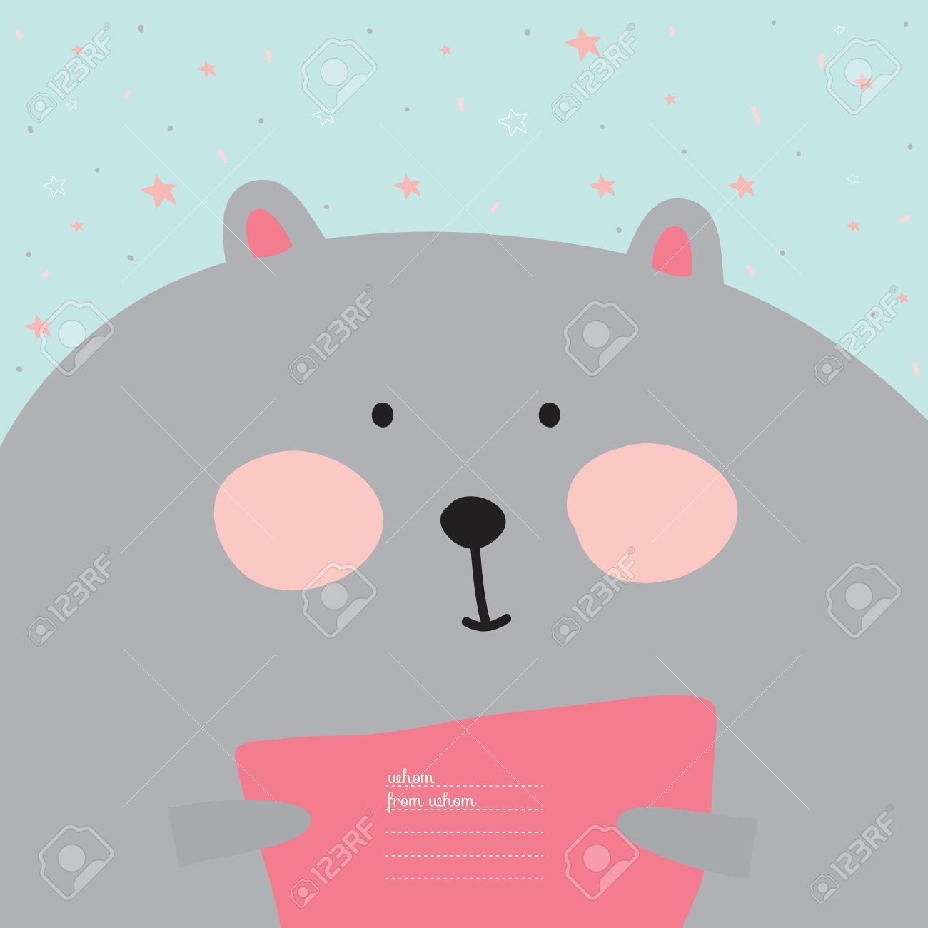 Greeting Card With Cartoon And Funny Character Animals Vector