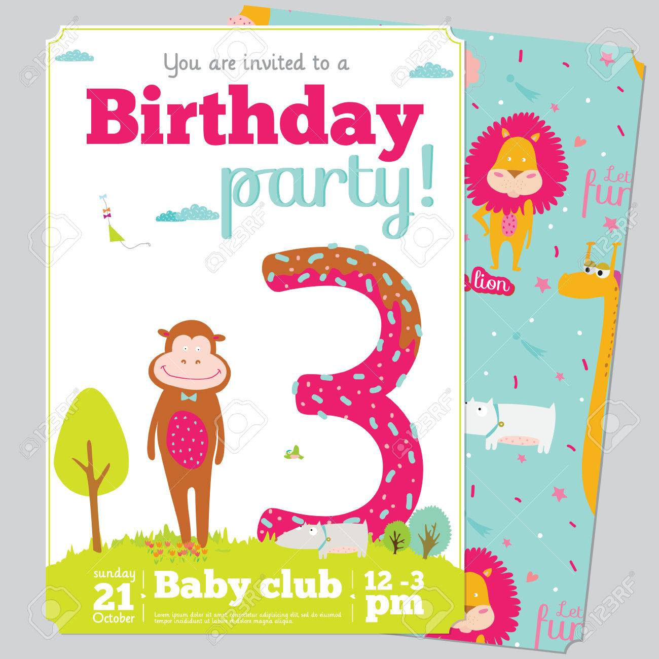 Birthday Anniversary Numbers With Cute Animals And Kids And – Kids Birthday Party Invitation Cards