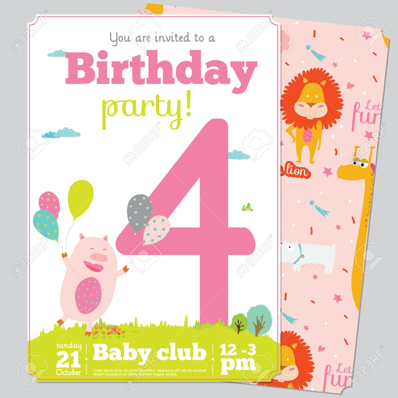 Birthday anniversary numbers with cute animals and kids and birthday birthday anniversary numbers with cute animals and kids and birthday party invitation card template in cartoon bookmarktalkfo Choice Image