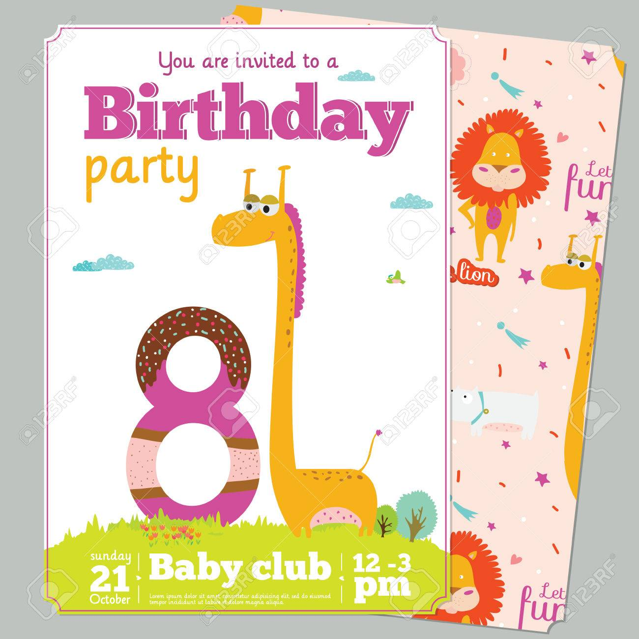 Birthday Anniversary Numbers With Cute Animals And Kids And Birthday ...