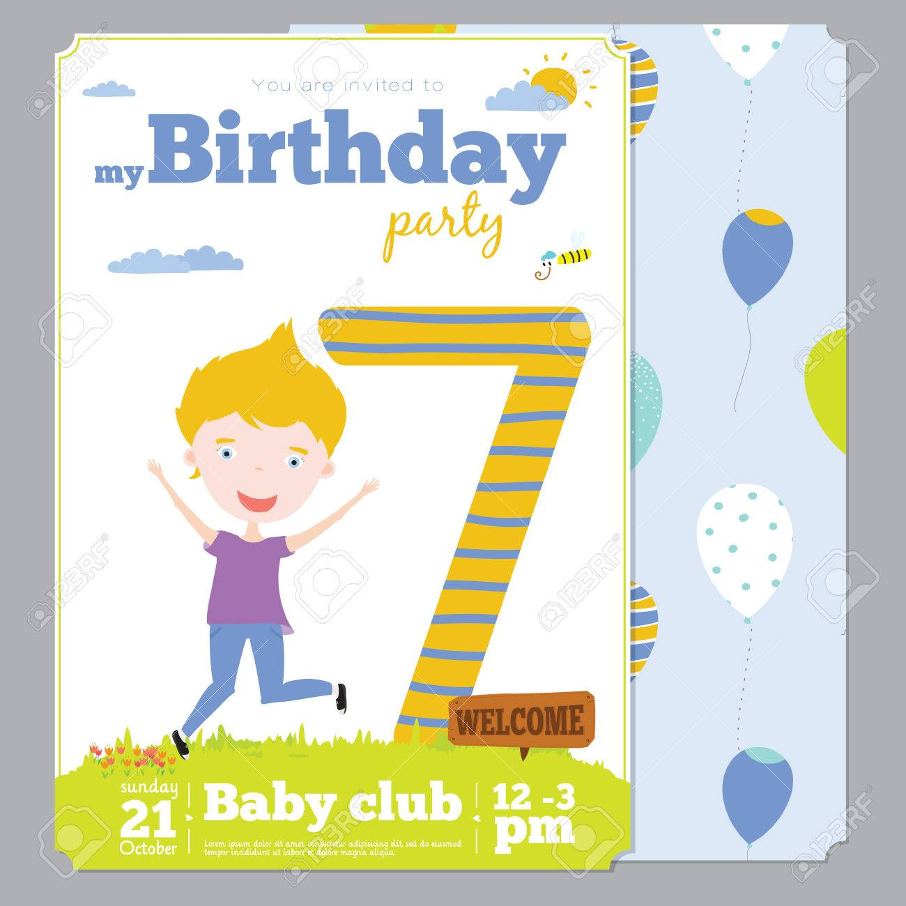 Birthday Anniversary Numbers With Cute Animals And Kids And Birthday Party Invitation Card Template In Cartoon And Cute Style Bright Background With