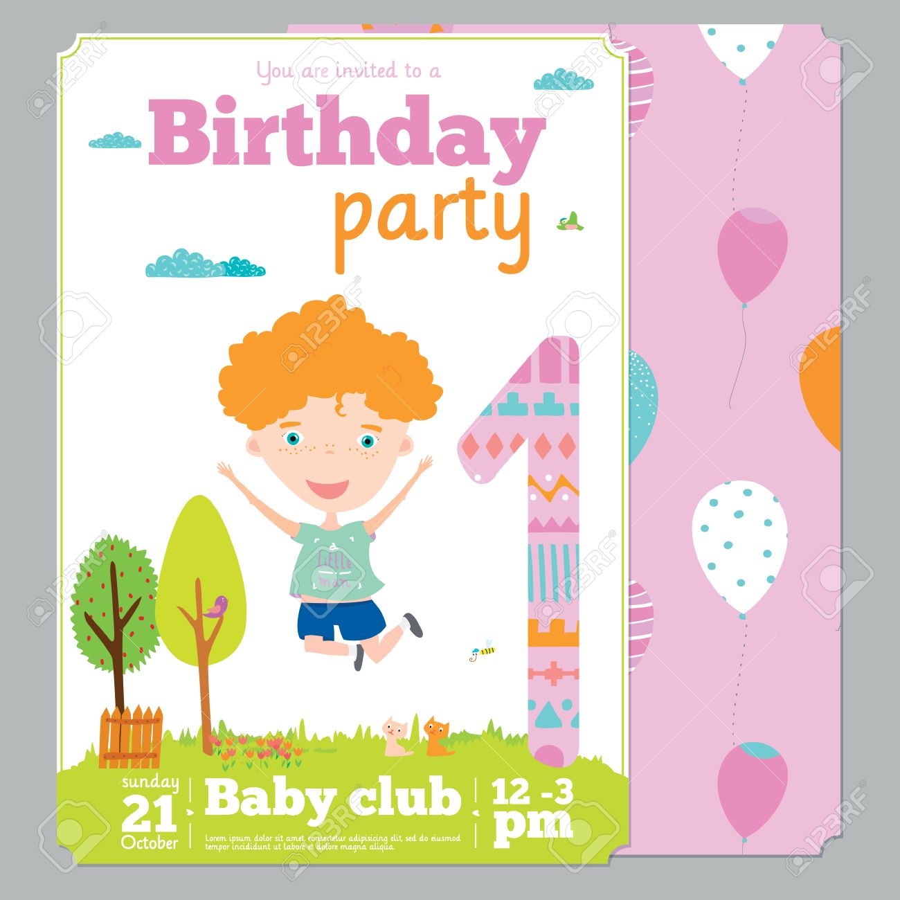 Birthday Anniversary Numbers With Cute Animals And Kids And Birthday