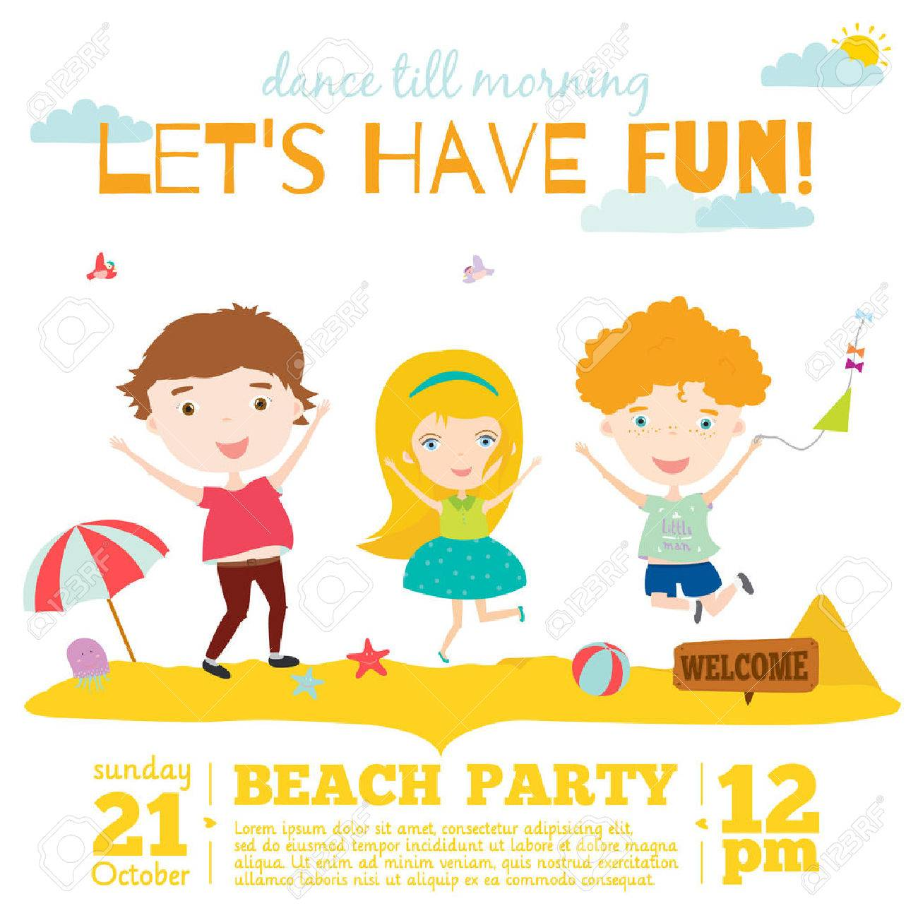 Vector invitation card on summer beach party with smiling and happy imagens vector invitation card on summer beach party with smiling and happy kids in a cute and cartoon style bright spring and summer season background stopboris Image collections