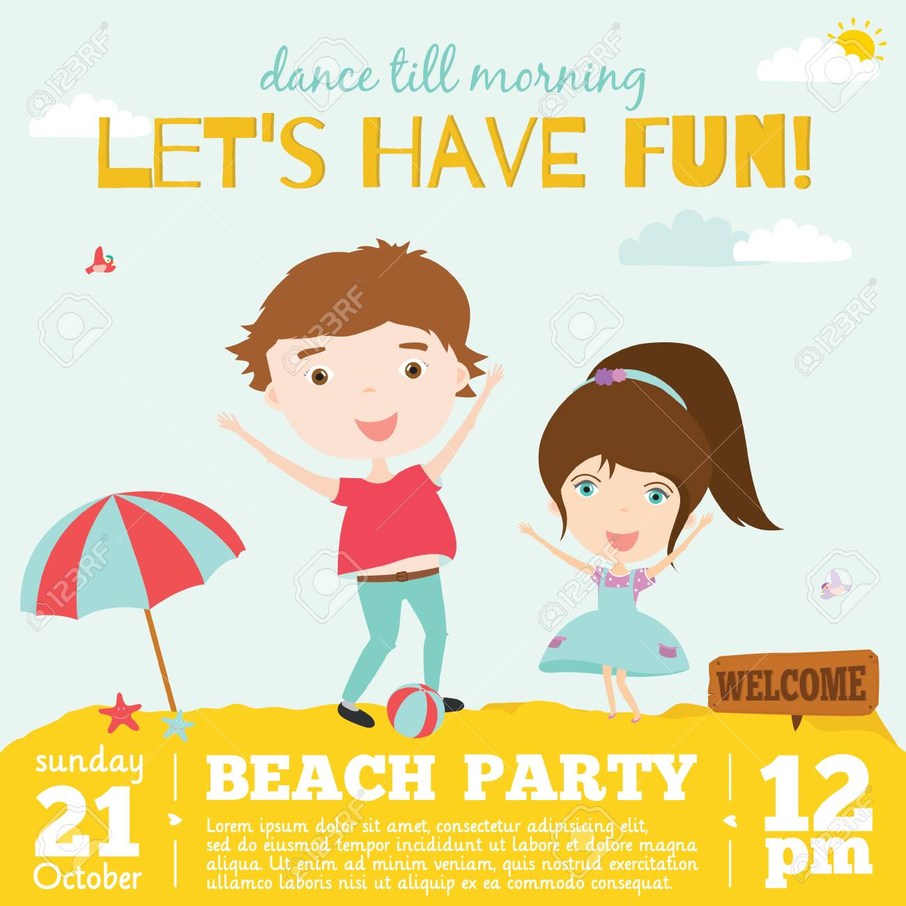 Vector Invitation Card On Summer Beach Party With Smiling And ...