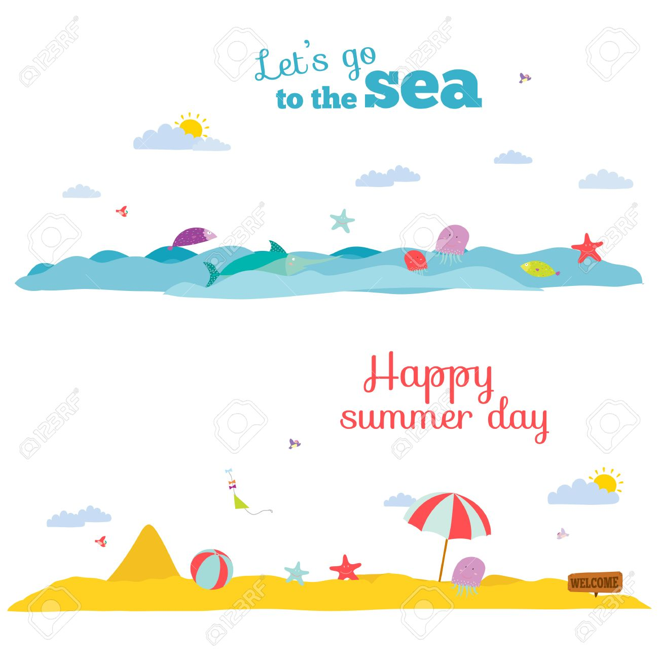 vector illustration banners for tourism or camp for kids in a
