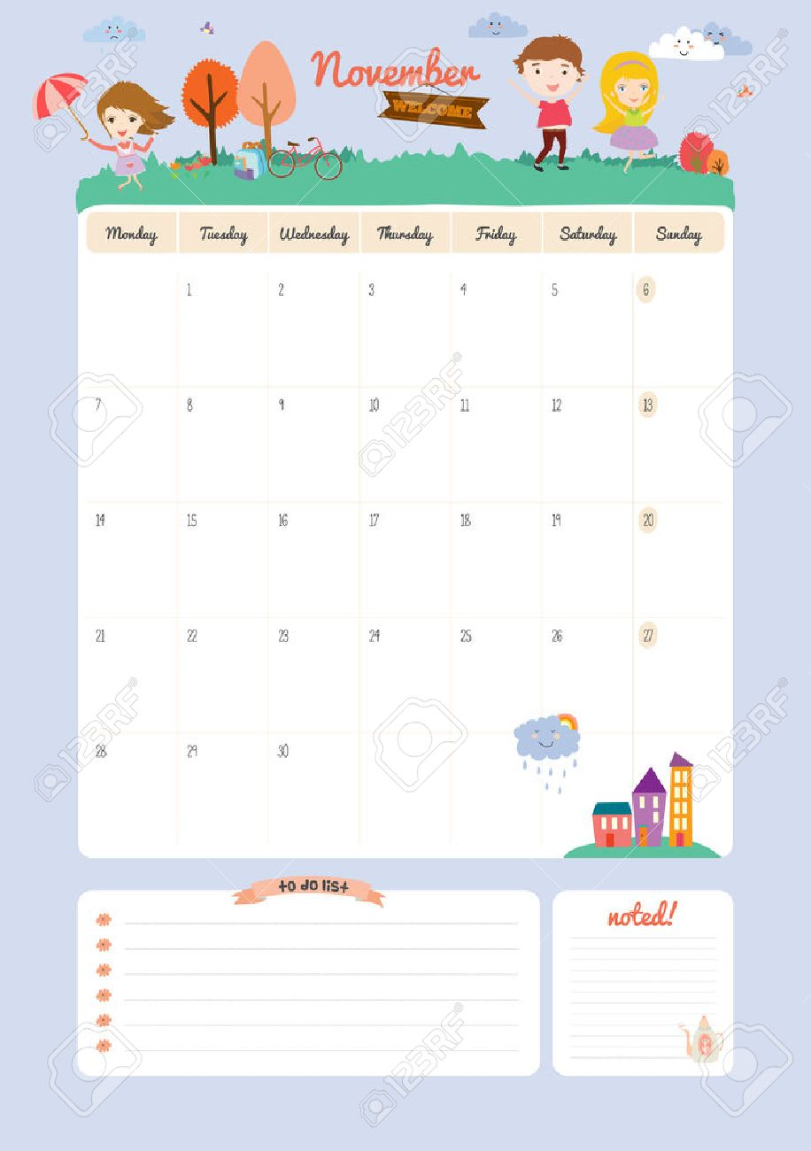 Plantilla Calendario Lindo Para 2016. Hermosa Diario Con Vector ...