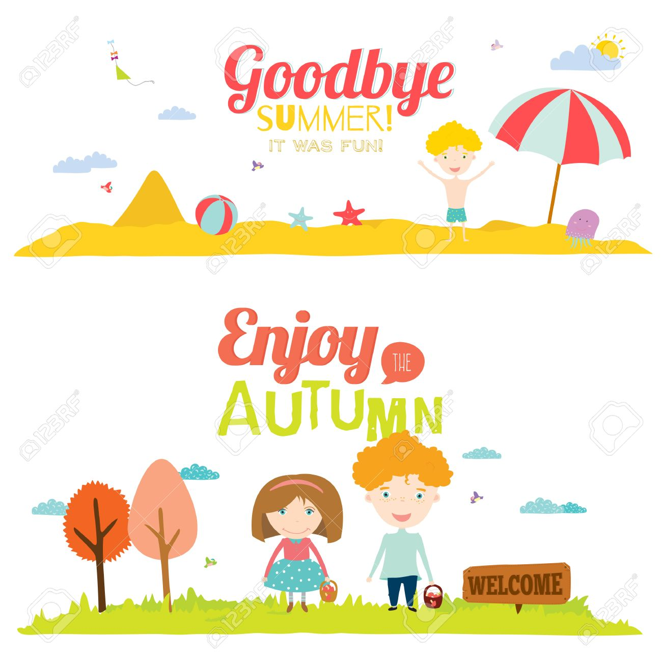 Vector Illustration Banners With Funny Happy Smiling Kids. Bright  Backgrounds In A Cute And Cartoon