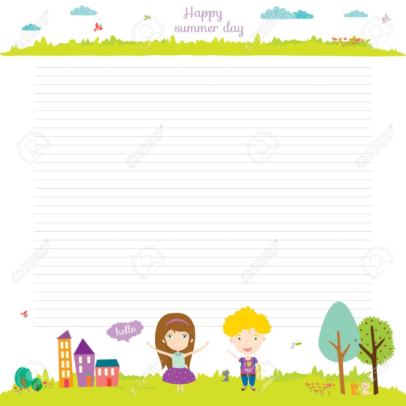 戻る学校デザイン。かわいいと漫画イラスト春、夏、秋の背景。ノート