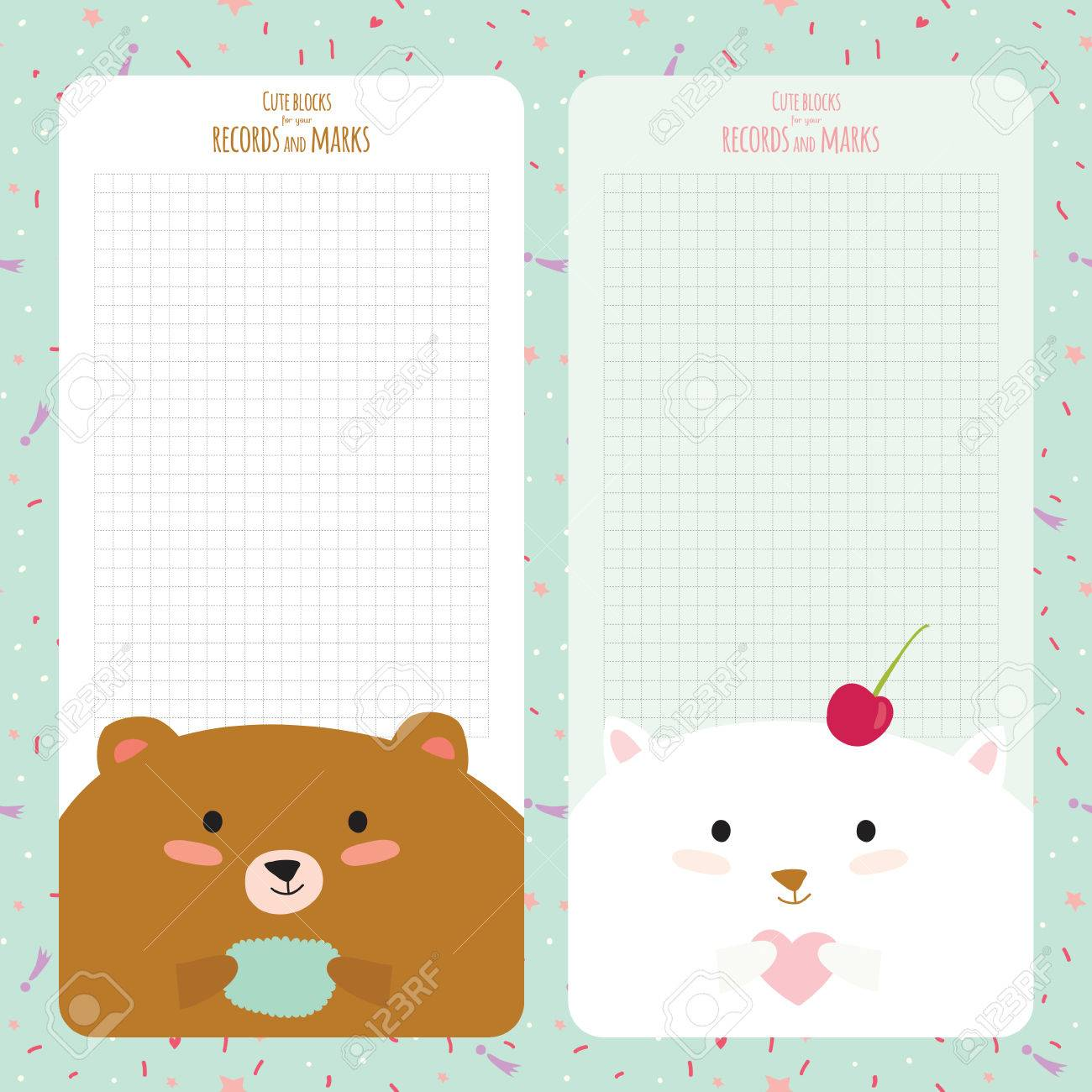 image regarding Cute Printable Notebook Paper named Vector layout materials for laptop, diary, stickers and other..