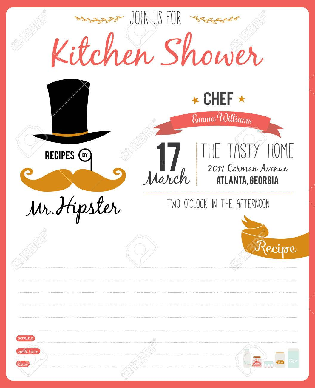 Recipe Card In Hipster Style For Restaurant And Cafe. Invitation ...