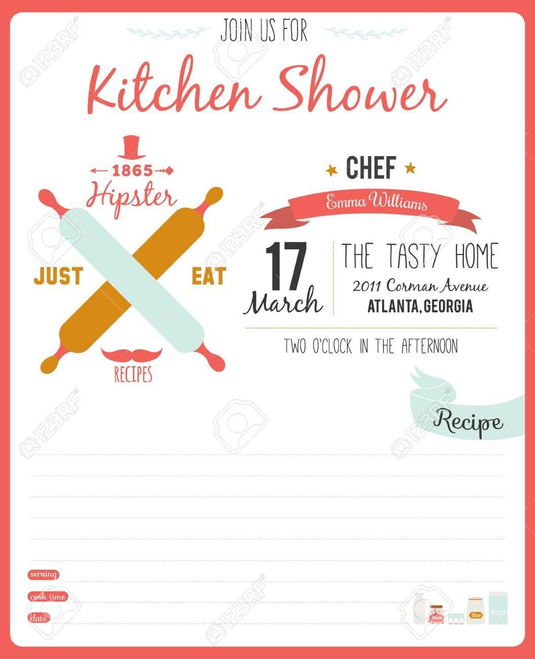 Kitchen Shower Recipe Card In Hipster Style For Restaurant And Cafe Invitation