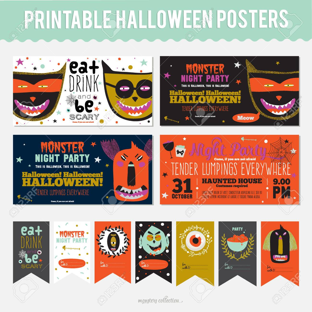 set trick or treat poster cards in vector stylish halloween set trick or treat poster cards in vector stylish halloween illustration cute funny