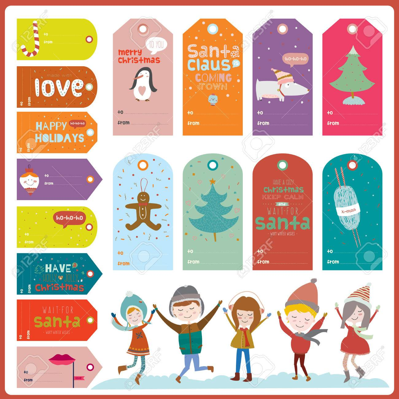 vintage christmas and new year greeting stickers labels tags