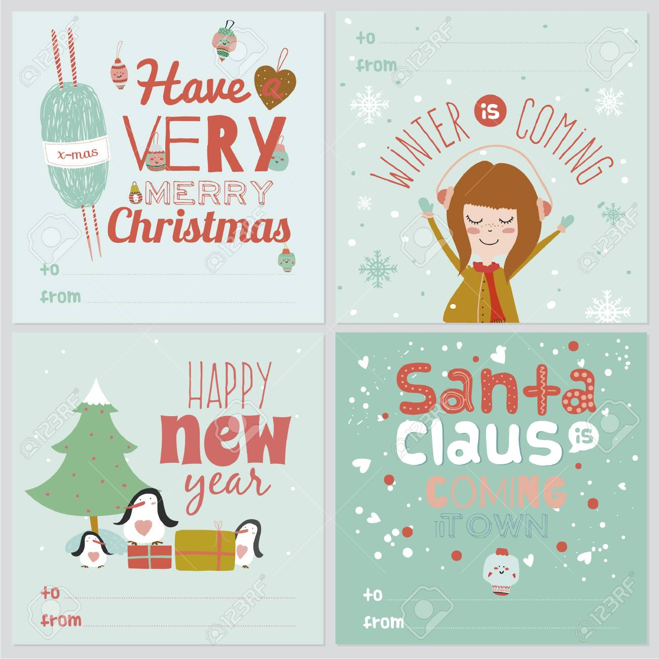 Set Of Square Greeting Cards With Christmas And New Year