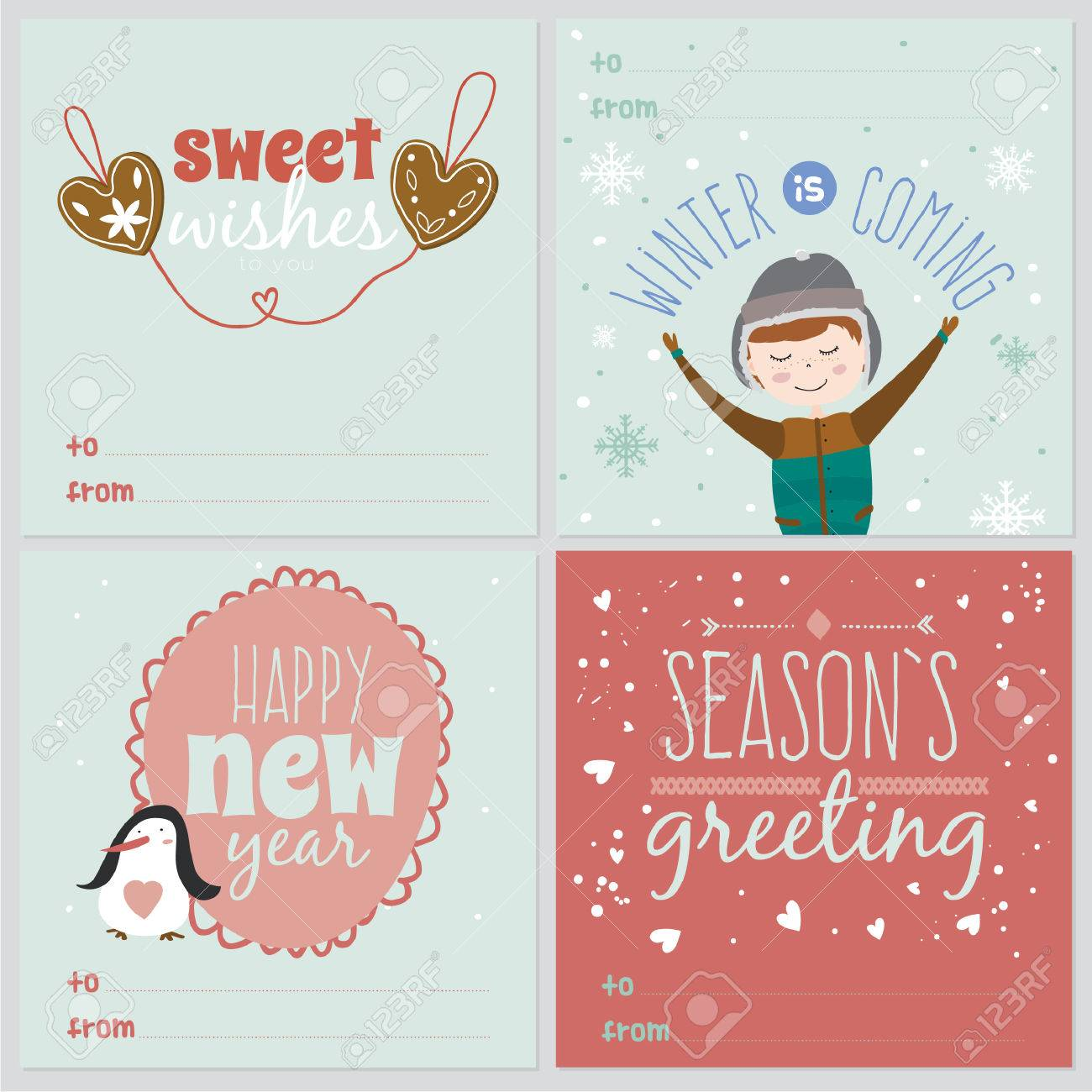 Set of square greeting cards with christmas and new year set of square greeting cards with christmas and new year calligraphic and typographic background greeting m4hsunfo