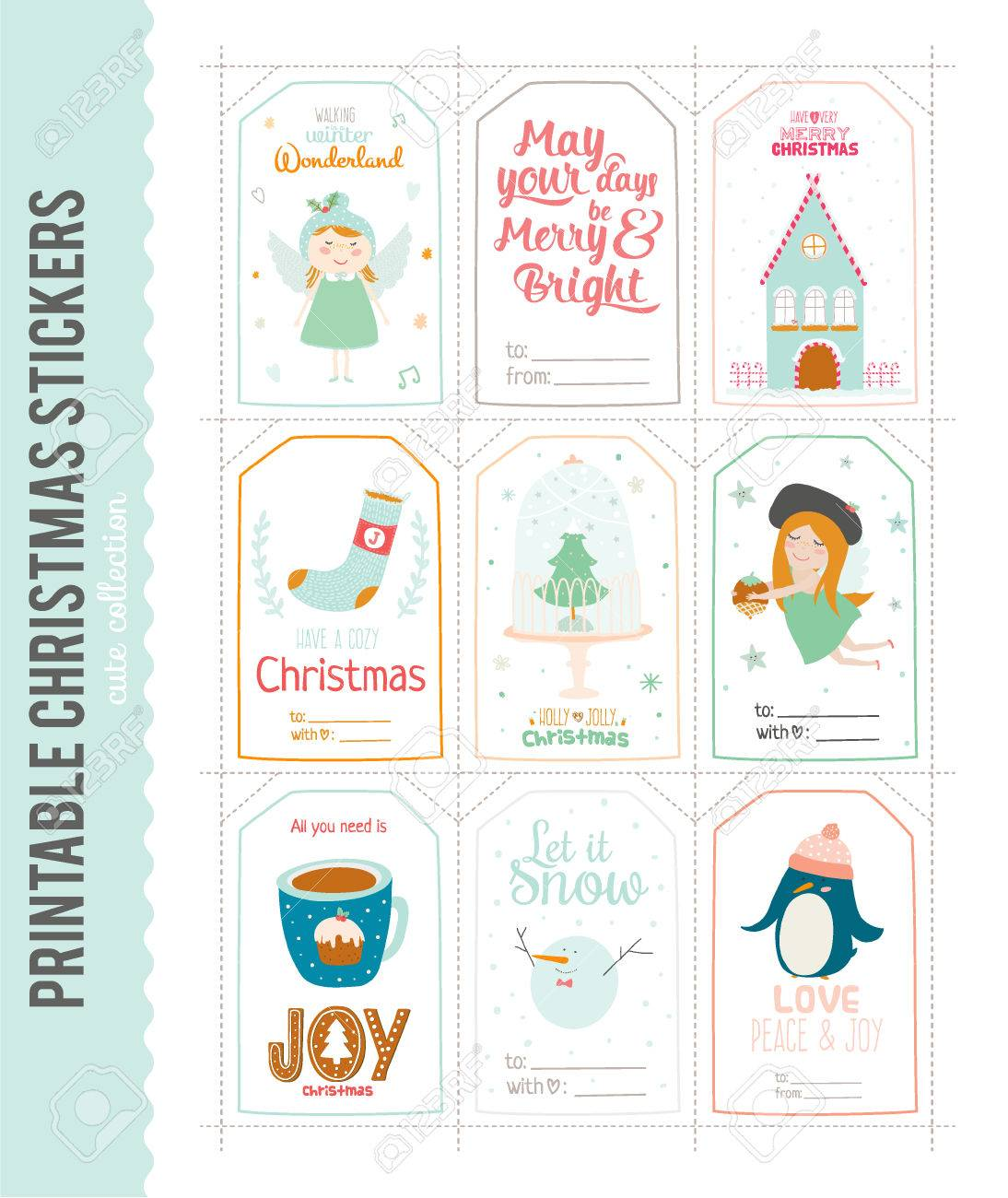 romantic and cute vector cards notes stickers labels tags with winter christmas