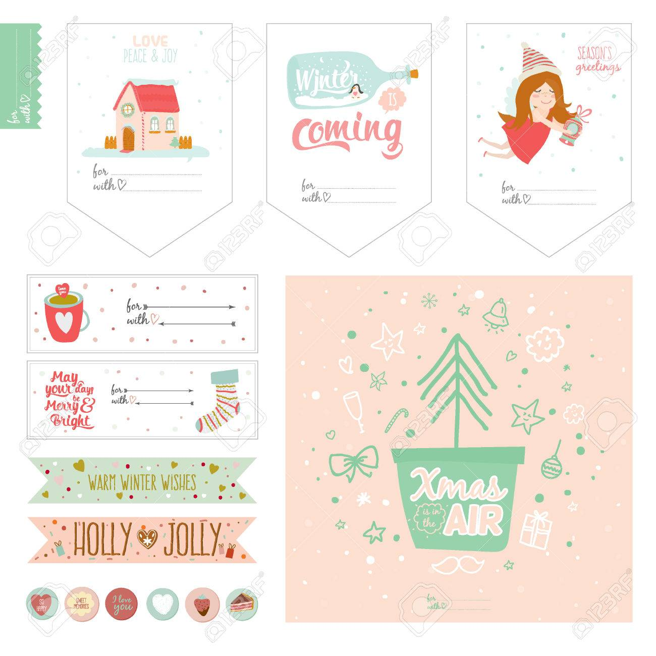 romantic and love cards, notes, stickers, labels, tags with cute
