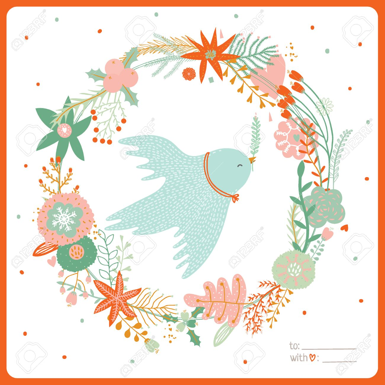 vector vintage merry christmas and happy new year card with flowers and winter dove greeting stylish illustration of winter romantic wreath of flowers