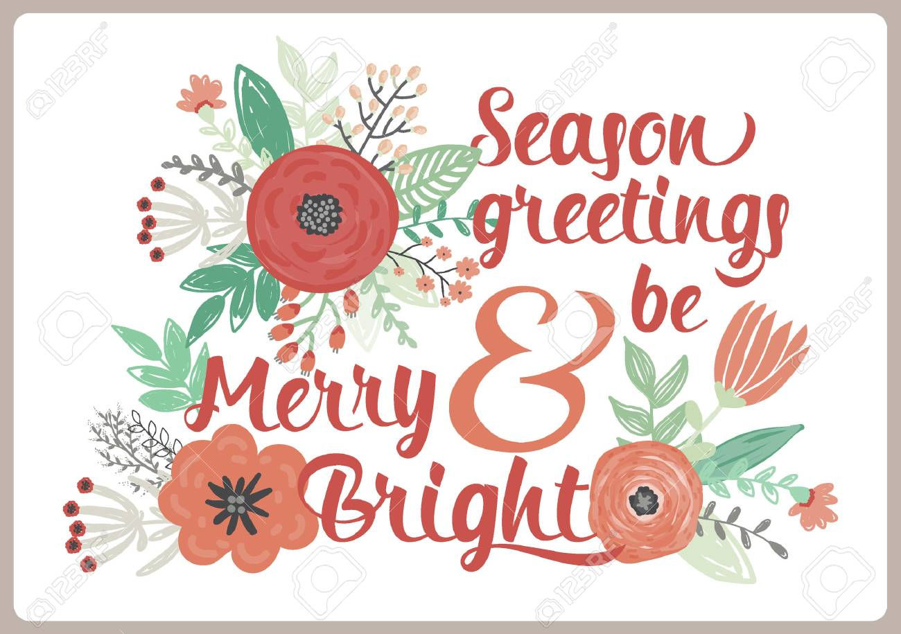 Vintage Merry Christmas And Happy New Year Card With Winter Fowers