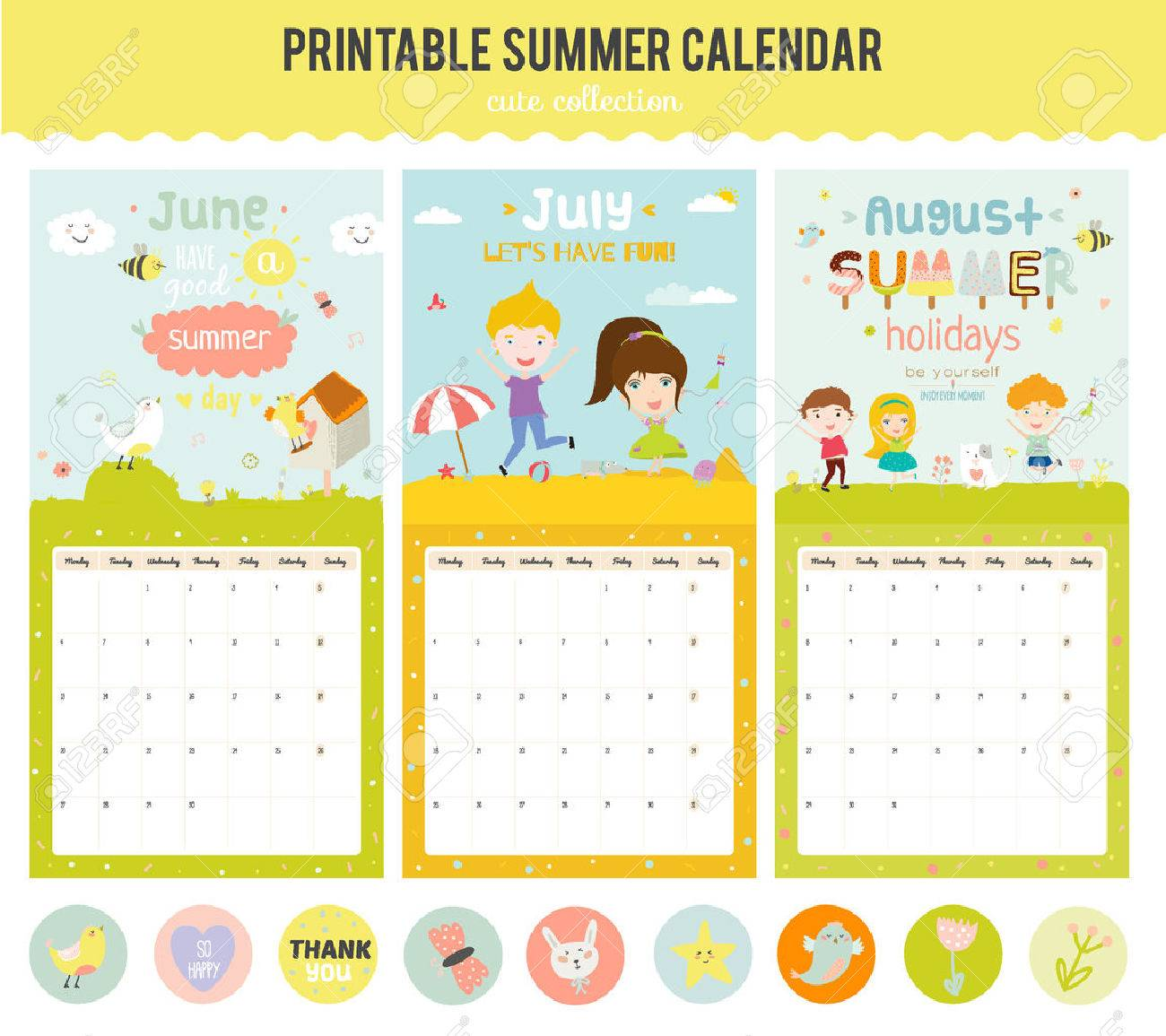 Cute Calendar Template For 2016 Beautiful Diary With Vector