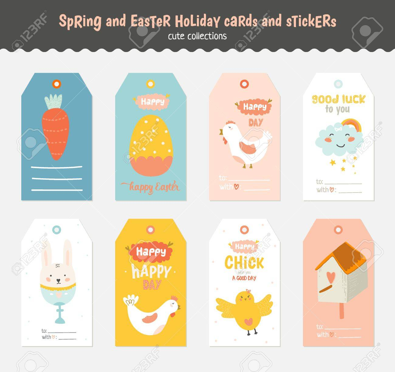 Beautiful Collection Of Easter Greeting Cards Gift Tags Stickers