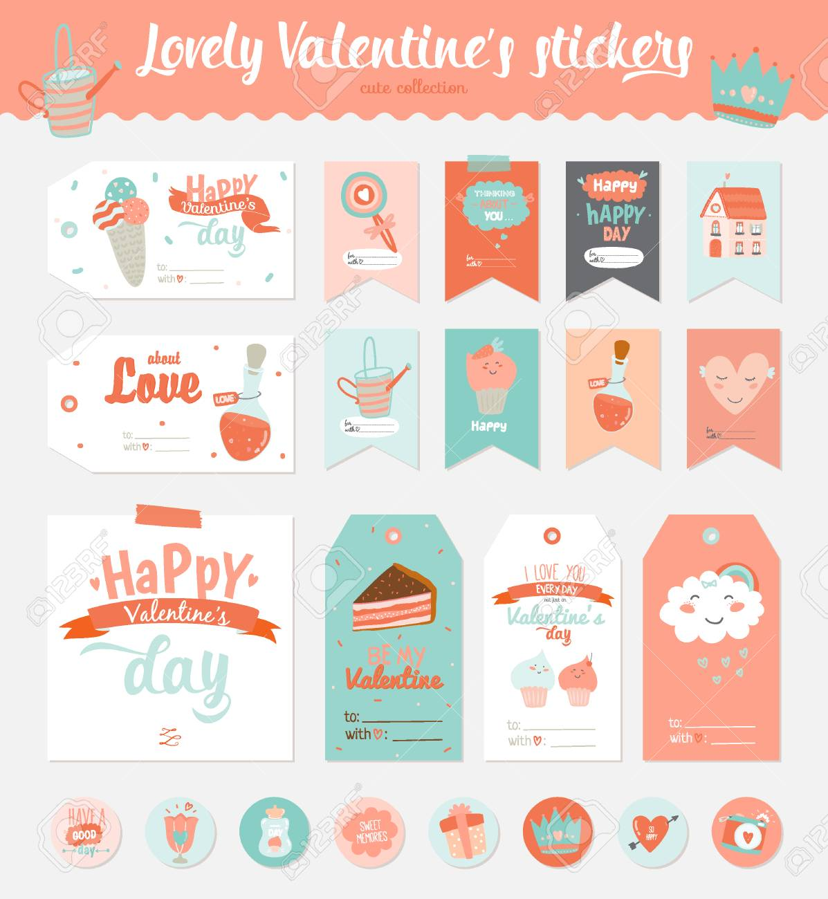 Collection Of Valentines Day Gift Tags Stickers And Labels