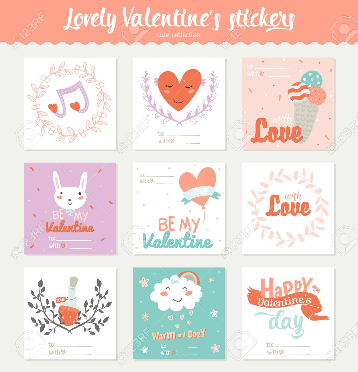 set of 9 square valentines day gift tags, stickers and labels