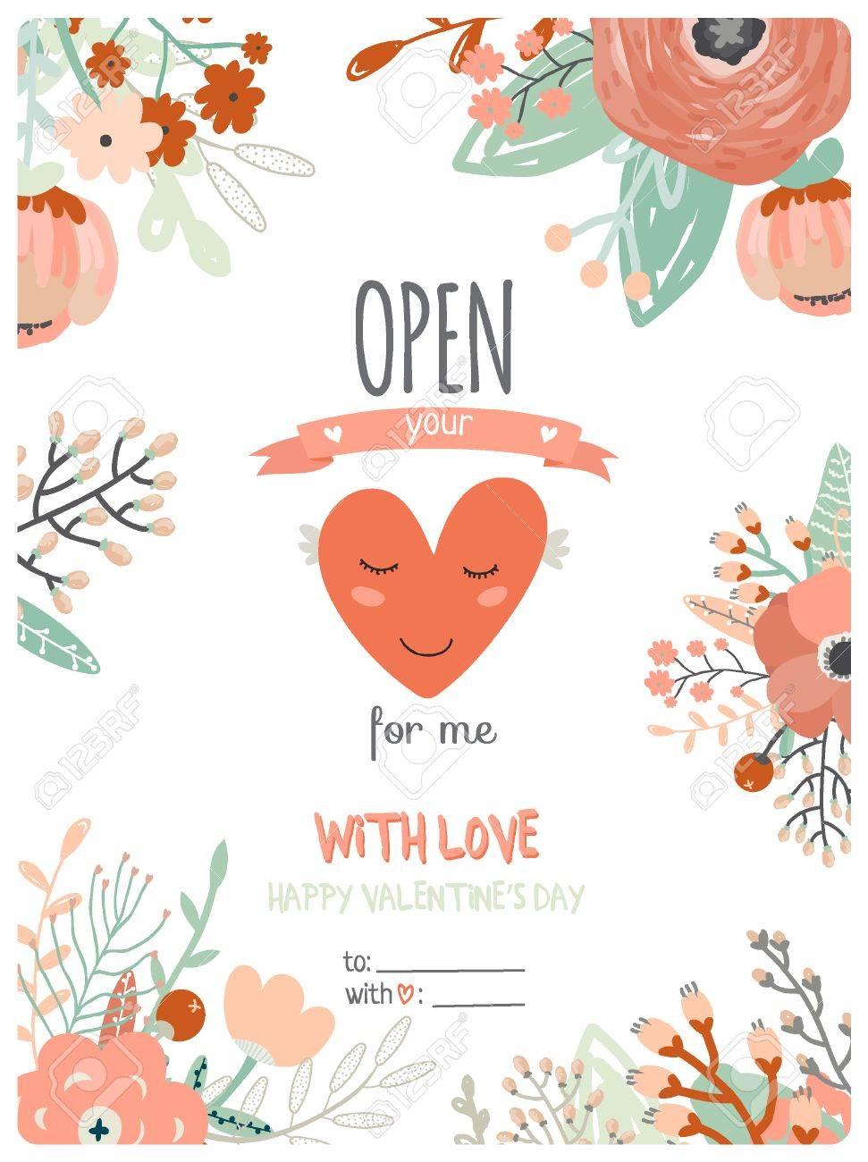 Tarjeta Del Día De San Valentín Con La Caligrafía Y Las Flores