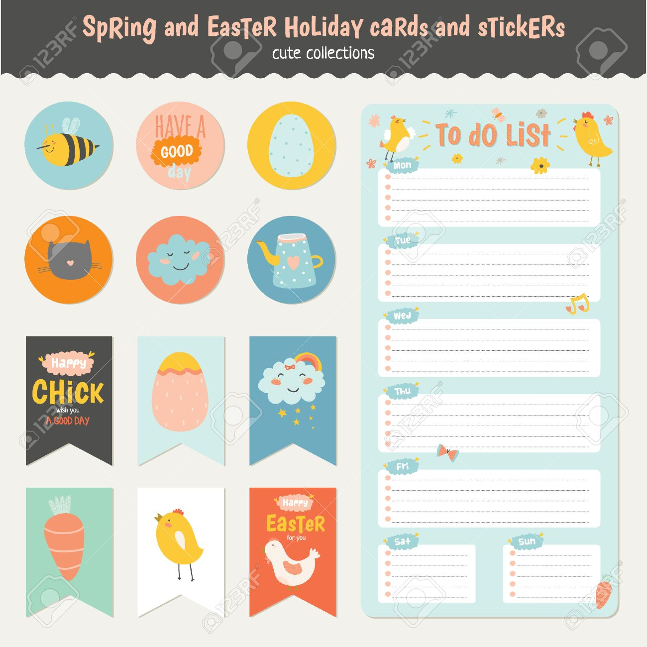 Beautiful collection of easter greeting cards gift tags stickers beautiful collection of easter greeting cards gift tags stickers and labels templates in vector negle Choice Image