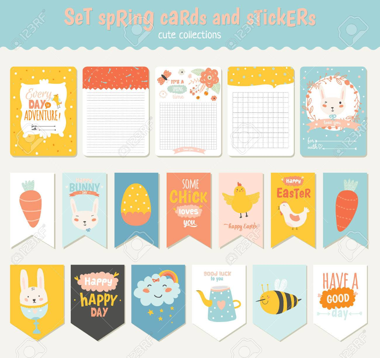 Beautiful collection of easter greeting cards gift tags stickers beautiful collection of easter greeting cards gift tags stickers and labels templates in vector negle Images