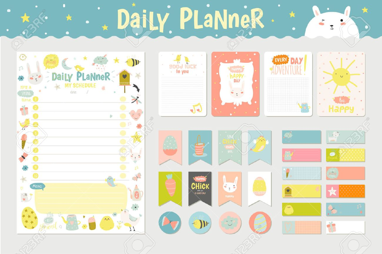 Cute Calendar Daily Planner Template For 2016 Beautiful Diary With Character And Funny Kids Illustrations