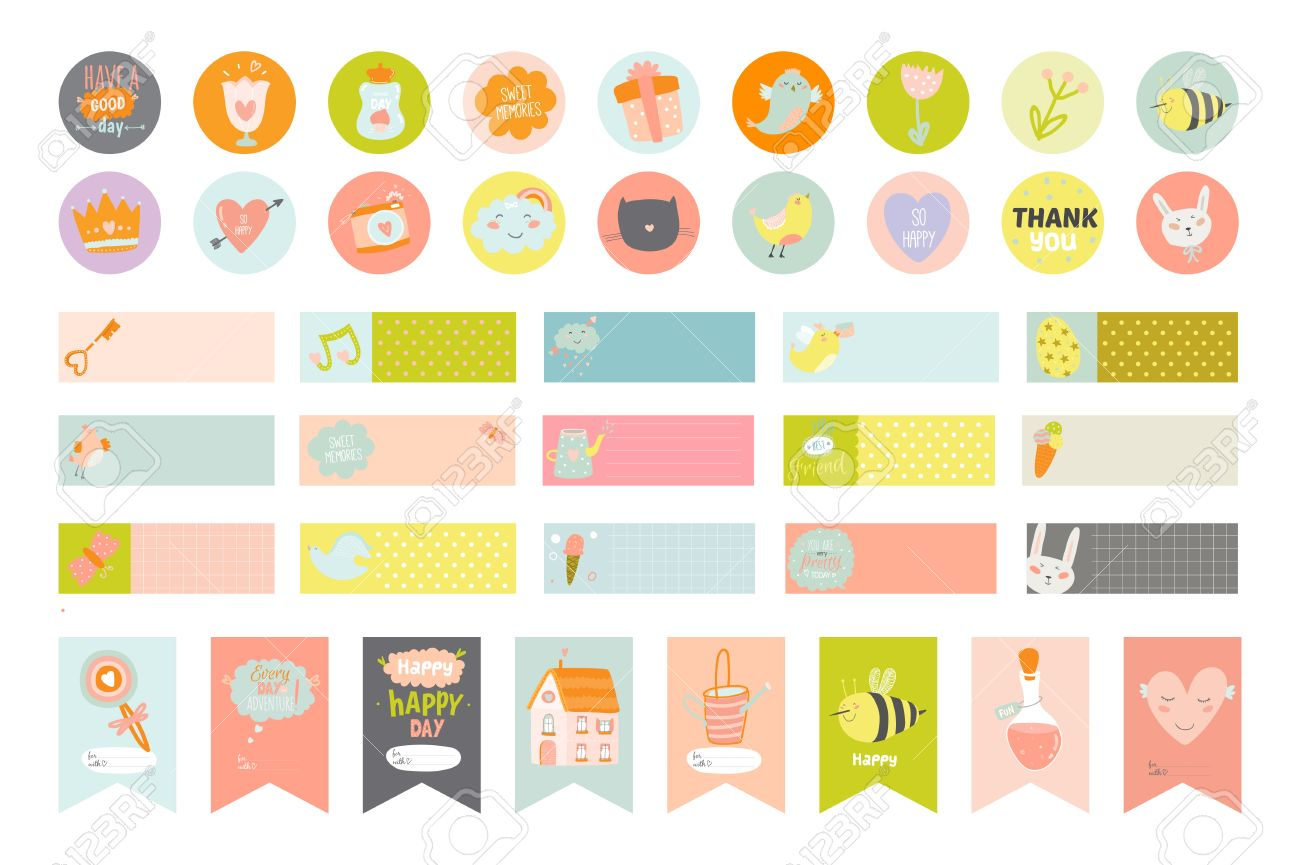 Cute Cards And Stickers For Planners And Notebooks. Beautiful ... for Planner Stickers Template  61obs