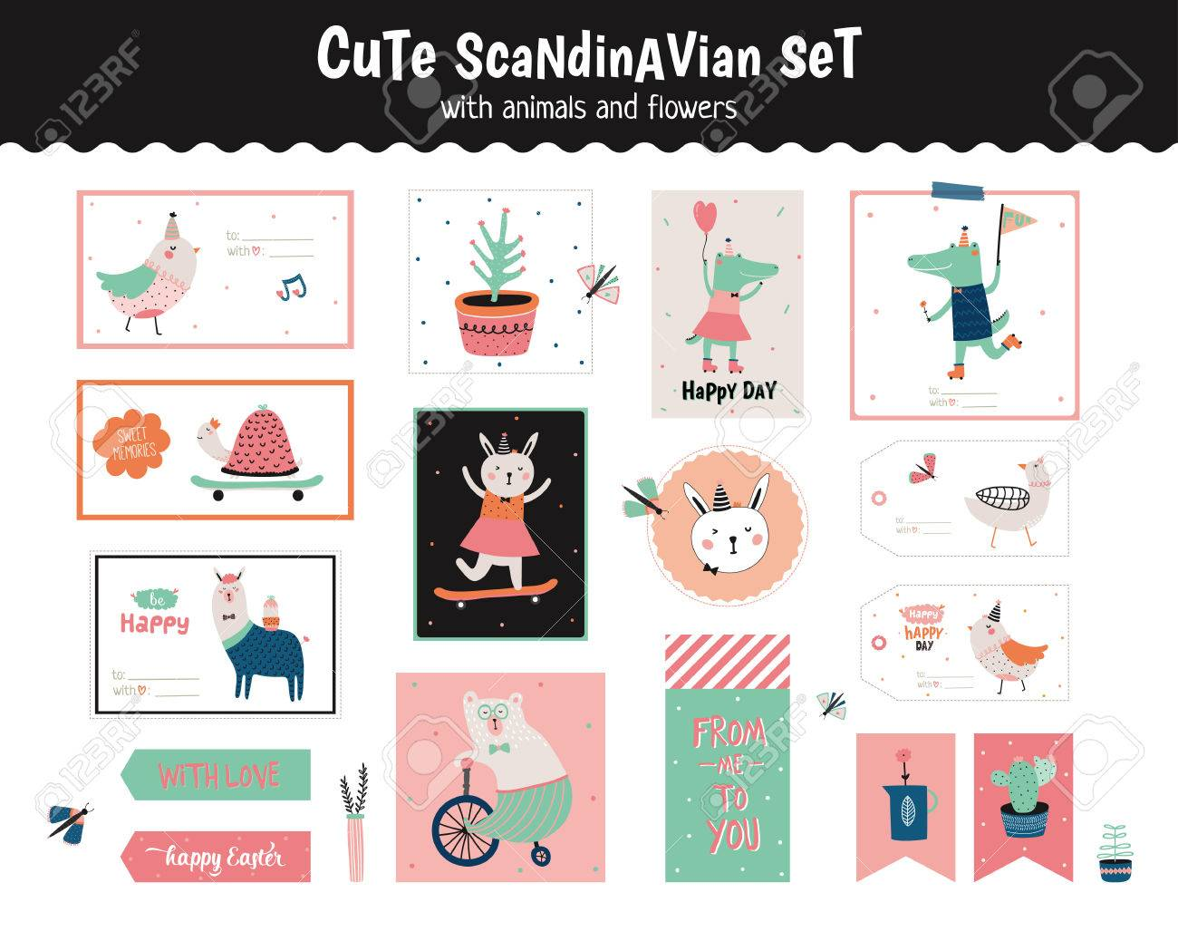Cute scandinavian set of greeting cards gift tags stickers cute scandinavian set of greeting cards gift tags stickers and labels templates with funny negle Choice Image