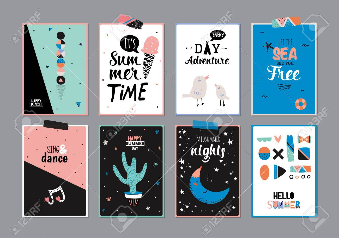 cute hello summer square posters with trendy summer elements