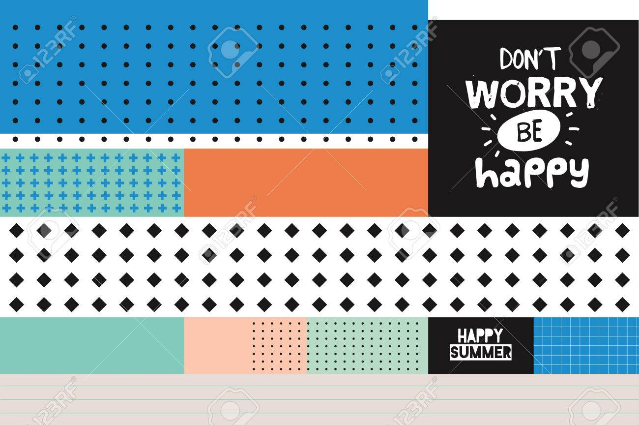 Cute Hello Summer Art Card With Trendy Geometric Elements. Summer Quote  Typographic. Scandinavian Style