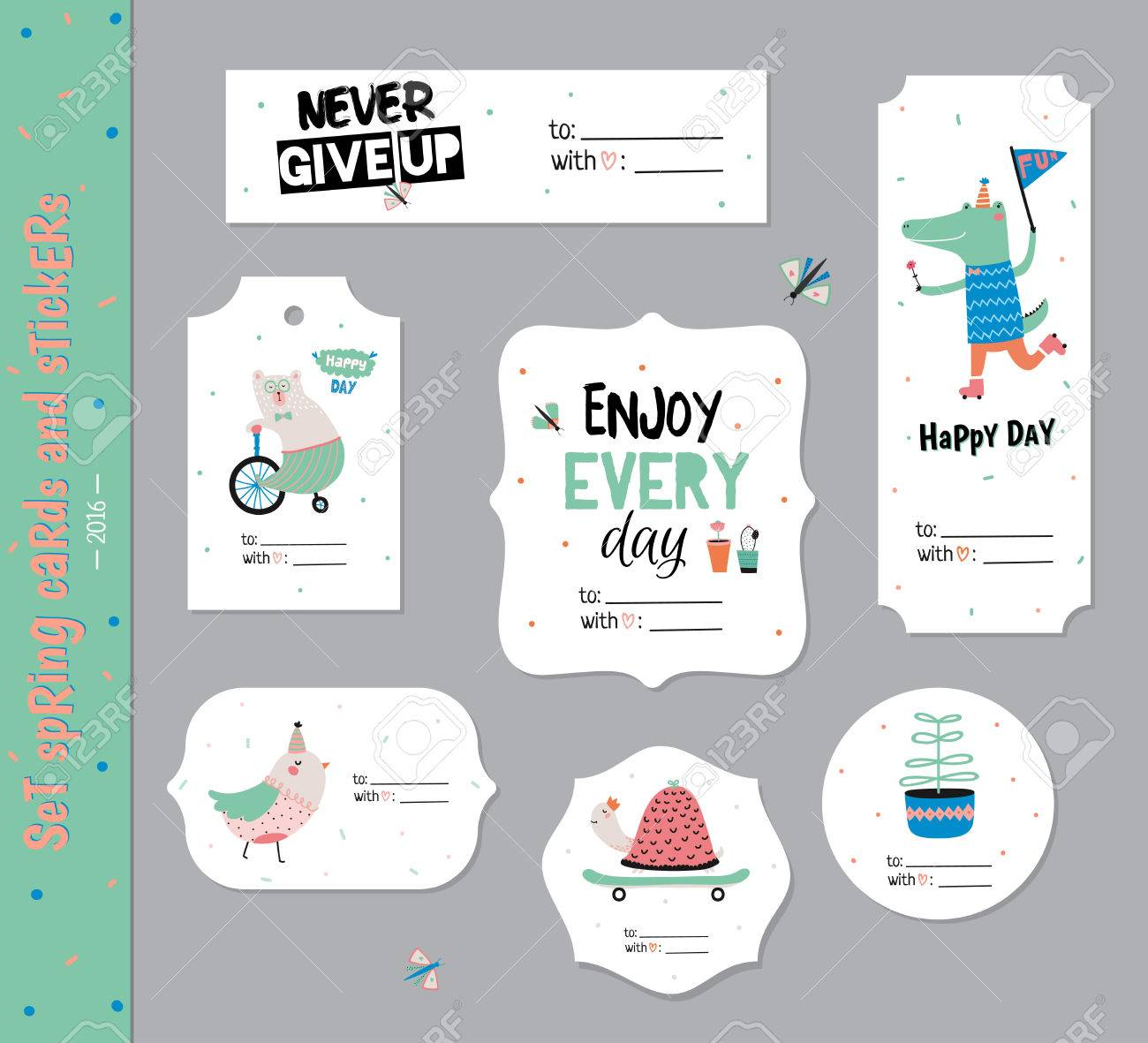 Set Of Birthday Cards Gift Tags Labels Templates And Stickers