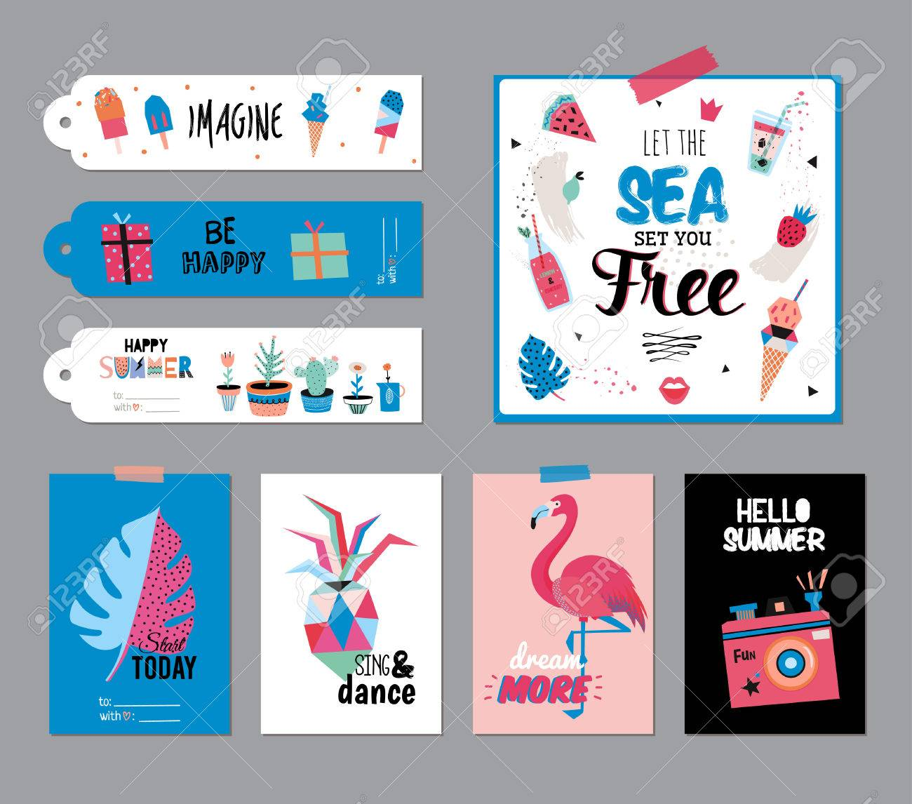 Cute Summer Scandinavian Set Of Greeting Cards Gift Tags Stickers