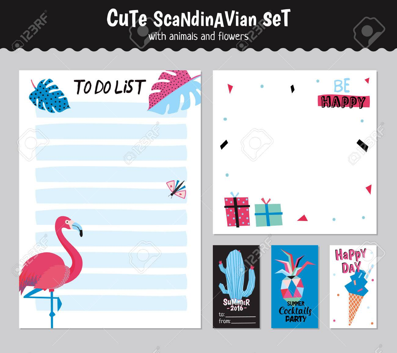 scandinavian weekly and daily planner template. organizer and